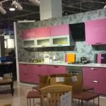 High glossy wooden kitchen